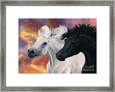 Framed Print featuring the painting Ebony And Ivory by Sheri Gordon