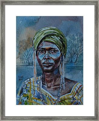 Ebony Girl Framed Print by Mohamed Fadul