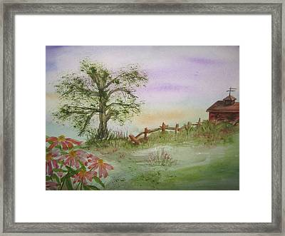 Echinacea And Crooked Fence Framed Print by Ellen Levinson
