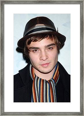 Ed Westwick At Arrivals For Opening Framed Print by Everett
