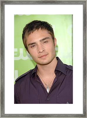 Ed Westwick At Arrivals For The Cw Framed Print