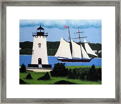Edgartown Lighthouse Painting Framed Print by Frederic Kohli