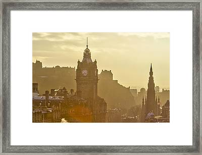 Edinburgh Castle, Balmoral Hotel, Scott Monument Framed Print by Alan Copson