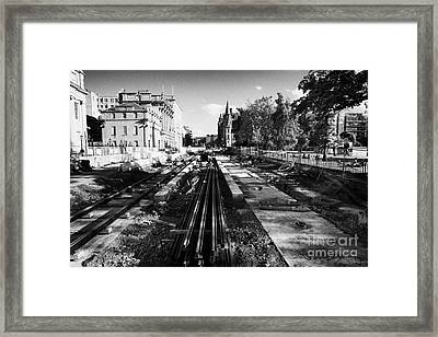 Edinburghs New Tram System Under Construction In St Andrews Square Scotland Uk United Kingdom Framed Print by Joe Fox