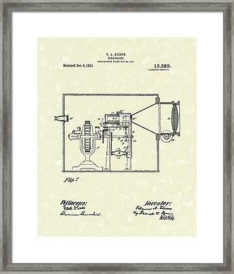 Edison Kinetoscope 1911 II Patent Art  Framed Print by Prior Art Design
