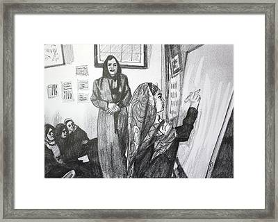 Framed Print featuring the painting Education For Girls by Jan Swaren