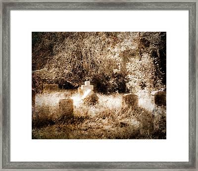 Eerie Cemetery Framed Print by Sonja Quintero