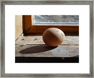 Framed Print featuring the painting Egg On A Window Ledge by Carol Berning