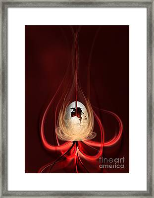 Egg With Red Flow Framed Print