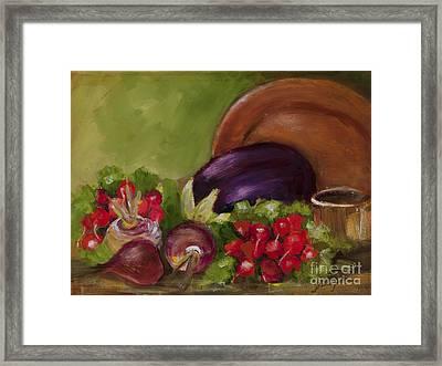 Eggplant And Radishes Framed Print