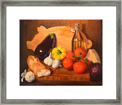 Framed Print featuring the painting Eggplant Parmigiana by Joe Bergholm