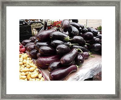 Eggplants And Fingerling Potatoes Framed Print by David Bearden