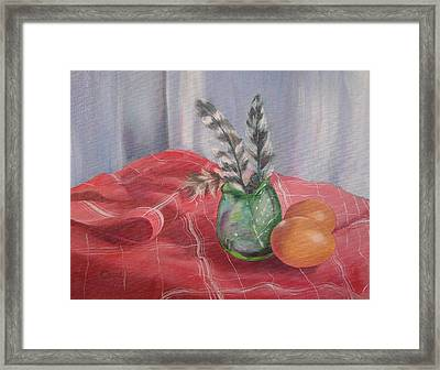 Framed Print featuring the painting Eggs Feathers And Glass by Carol Berning