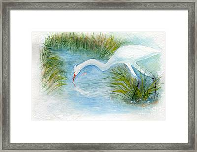 Framed Print featuring the painting Egret Fishing Creek by Doris Blessington