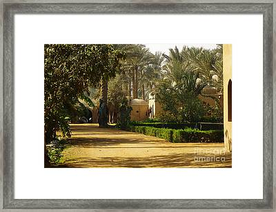 Egyptian Courtyard In The Late Afternoon Framed Print by Mary Machare