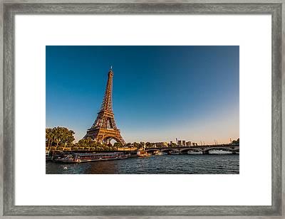 Eiffel Tower And Bridge Framed Print by (C) Thanachai Wachiraworakam