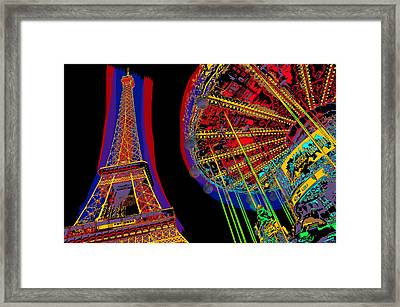 Eiffel Tower And Merry-go-round In Color Framed Print