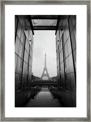 Eiffel Tower And Wall For Peace Framed Print by Cyril Couture @