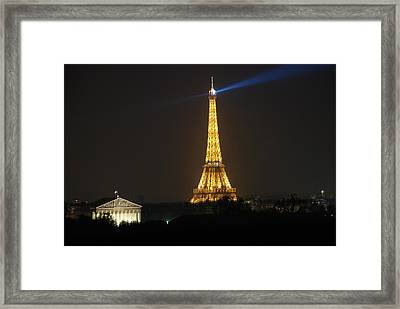Eiffel Tower At Night Framed Print by Jennifer Ancker