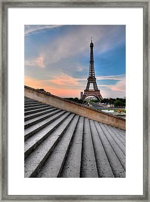 Eiffel Tower At Sunrise, Paris Framed Print by Romain Villa Photographe