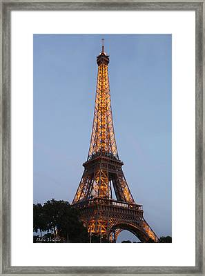 Eiffel Tower Lights Framed Print by Debra     Vatalaro