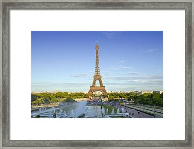 Eiffel Tower With Fontaines Framed Print