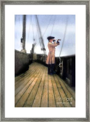 Eighteenth Century Man With Spyglass On Ship Framed Print by Jill Battaglia
