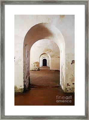 El Morro Fort Barracks Arched Doorways Vertical San Juan Puerto Rico Prints Framed Print by Shawn O'Brien