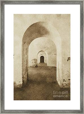 El Morro Fort Barracks Arched Doorways Vertical San Juan Puerto Rico Prints Vintage Framed Print by Shawn O'Brien