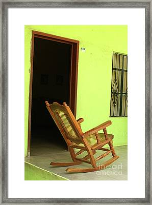 El Quelite Rocking Chair Mexico Framed Print by John  Mitchell