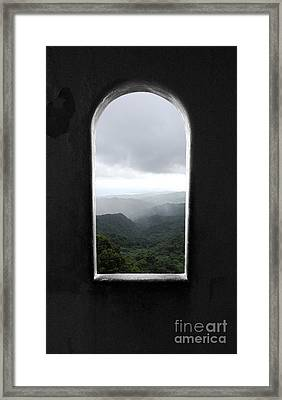 Framed Print featuring the photograph El Yunque Cloudburst Color Splash Black And White by Shawn O'Brien