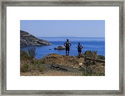 Elba Island - Mtb Bikers Looking The Far Away Island - Ph Enrico Pelos Framed Print