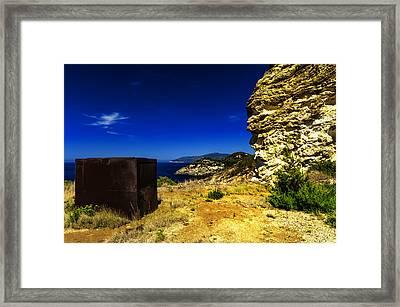 Elba Island - Rusty Iron Cube Landscape - Ph Enrico Pelos Framed Print