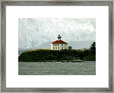 Framed Print featuring the photograph Eldred Rock Lighthouse by Myrna Bradshaw