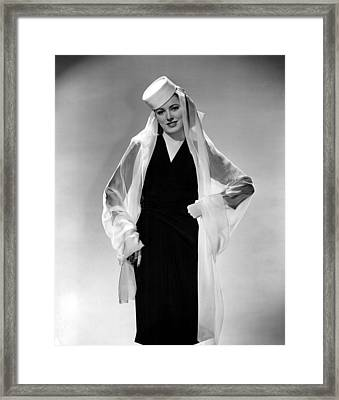 Eleanor Parker Wearing A Pill Box Hat Framed Print by Everett