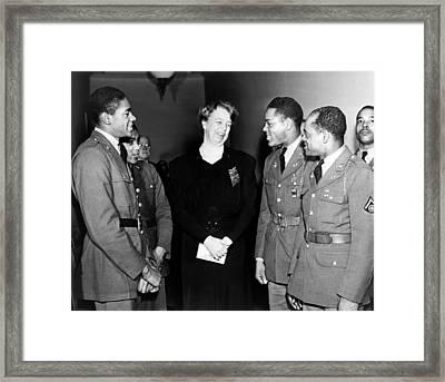 Eleanor Roosevelt Greets African Framed Print by Everett