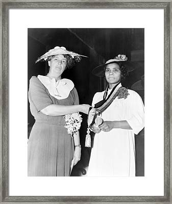 Eleanor Roosevelt Presents The Spingarn Framed Print