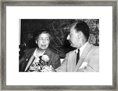 Eleanor Roosevelt Supported Adlai Framed Print by Everett