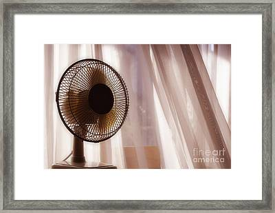 Electric Fan Beside Apartment Window With White Curtains Framed Print by Sami Sarkis