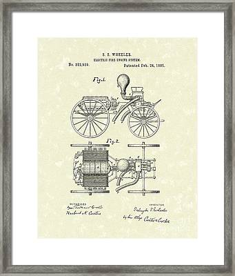 Electric Fire Engine 1885 Patent Art Framed Print by Prior Art Design