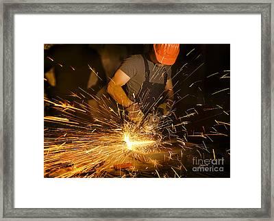 Electric Grinder In Action Framed Print