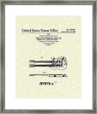 Electric Guitar 1958 Patent Art Framed Print by Prior Art Design