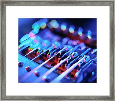 Electric Guitar Bridge Framed Print by Lawrence Lawry