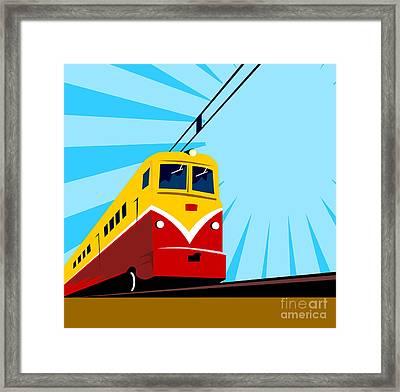 Electric Passenger Train Retro Framed Print by Aloysius Patrimonio
