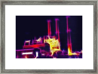 Electric Power Plant At Night  Framed Print by Steve Ohlsen