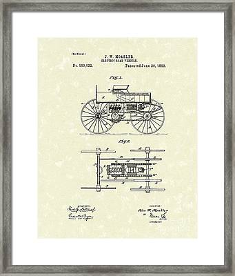 Electric Road Vehicle 1893 Patent Art Framed Print by Prior Art Design