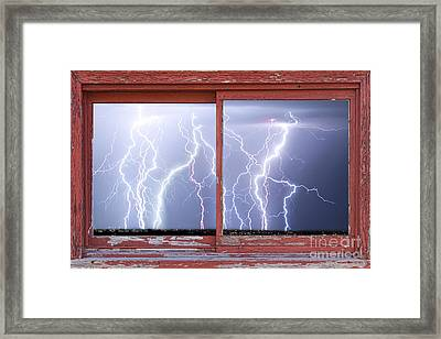 Electric Skies Red Barn Picture Window Frame Photo Art  Framed Print by James BO  Insogna