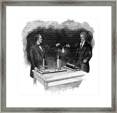 Electrical Experiment, Early 20th Century Framed Print by