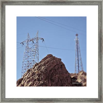 Electrical Lines In The Desert Framed Print