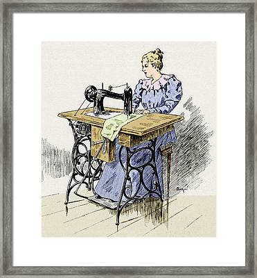Electrical Sewing Machine, 1900 Framed Print
